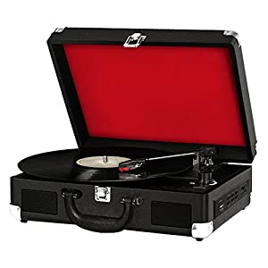 Bluetooth Compatible Classic Vintage Turntable – Retro Briefcase Style Record Player Speaker System w/ 3-Speed, Vinyl to Digital MP3 Converter, Phono USB SD Slot, AUX, RCA – Pyle PVTTBT9BK (Black)