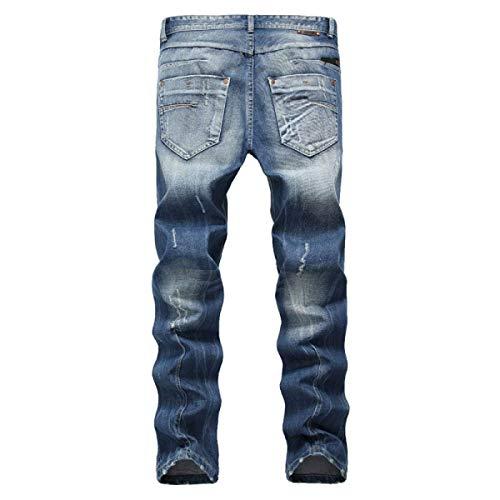Strappati Sottili Vita Da Diritto Uomo A Media Jeans Taglio Giovane Blu Eleganti 4zZqcOW