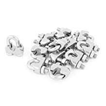 uxcell® 5mm 3/16 Inch Stainless Steel Wire Rope Cable Clamp Clips 12pcs
