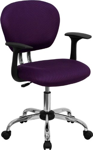 - Flash Furniture Mid-Back Purple Mesh Swivel Task Chair with Chrome Base and Arms