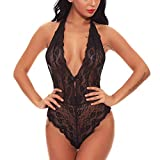 Womens Open Back Halter Plunging Teddy,Comfortable