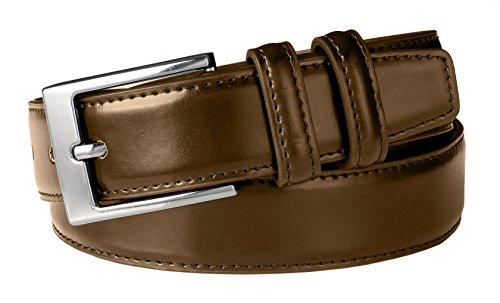 Sportoli Men's Classic Stitched Genuine Leather Dress Uniform Belt - Brown (Size 34)