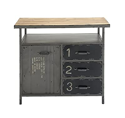 Deco 79 Metal Wood Cabinet, 56 by 30-Inch