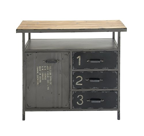 (Deco 79 Industrial Repurposed Metal Utility Cabinet with Storage & Wood Tabletop, Industrial Furniture Storage Cabinet, Wood & Metal Cabinet | 36
