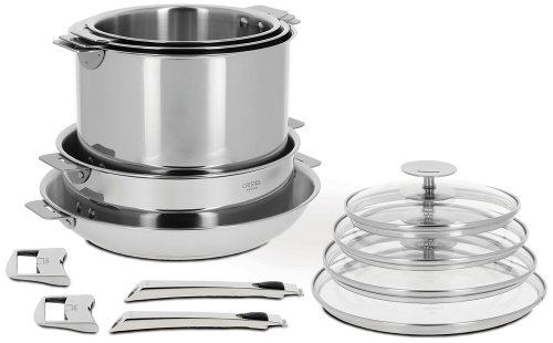 Cristel Casteline 18 10 Stainless Steel 13 Piece Cookware Set with Removable Handles