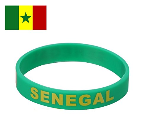 TDoperator SENEGAL Flag Silicone Bracelet FIFA World Cup 2018 For Soccer Fan Unisex Design Soft and Durable Wristband for National Football Supporters Fans Fashion Sport Wrist Strap Souvenir - Colors Flag Senegal