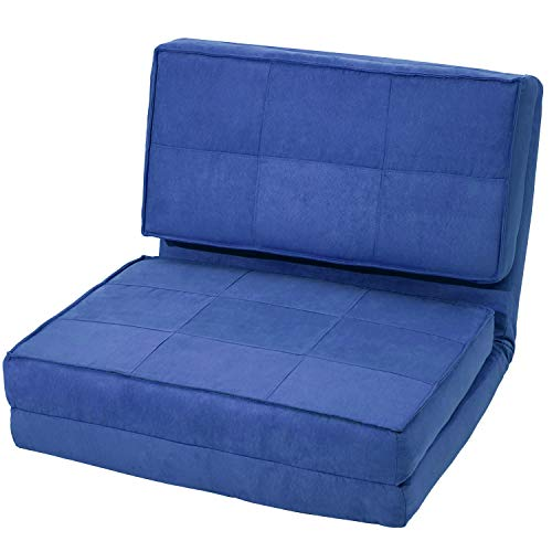- Harper & Bright Designs Convertible Futon Flip Chair Sleeper Bed Couch Sofa Seating Lounger (Blue)