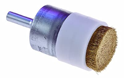 "Osborn 30247 Crimped Abrasive Wire End Brush with 2 Bridleds, Brass Bristle, 7500 RPM, 1"" Diameter, 2-3/4"" Length, 0.005"" Fill Diameter"