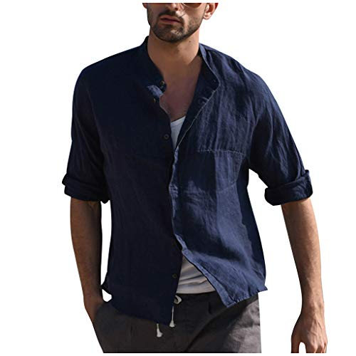 Stoota Men's Vintage Shirts, Three Quarter Short Sleeve Linen Solid Blouse (M, Dark Blue)