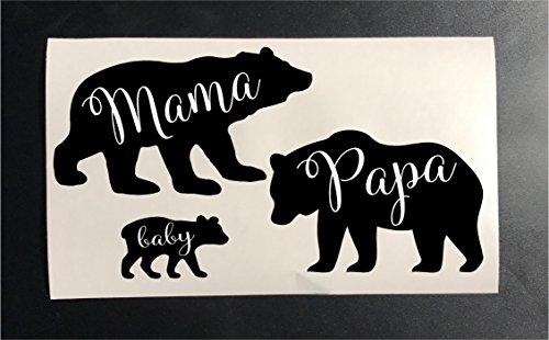 Mama bear Papa bear Baby Bear iron on heat transfer stencils for shirts clothes SET (Black)