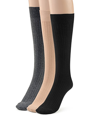 Cotton Blend Trouser Socks - Silky Toes 3 Pk Rib Women's Cotton Crew Dress Socks (Black/Grey/Beige-3 Pairs (Ribbed)) 9-11