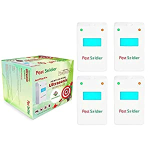 Set of 4 Pest Soldier Pest Control Ultrasonic Repeller -Electronic Plug -In Repeller for Insects- Best Repellent for, Cockroach, Rodents, Flies, Roaches, Ants, Spiders, Fleas, Mice - White Color