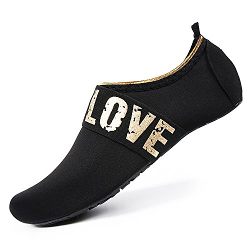 Womens and Mens Water Shoes Barefoot Quick-Dry Aqua Socks for Beach Swim Surf Yoga Exercise (Gold Love/Black, M) by WateLves