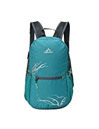 TOFINE Women's Small Hiking Travel Camping Gear Lightweight Foldable Waterproof Portable Backpack 15 Liter Tiffany