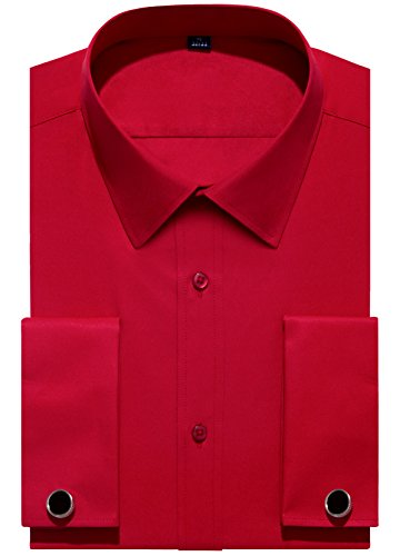 (Alimens & Gentle French Cuff Regular Fit Dress Shirts (Cufflink Included), Red, 15.5 Neck - 32/33 Sleeve)