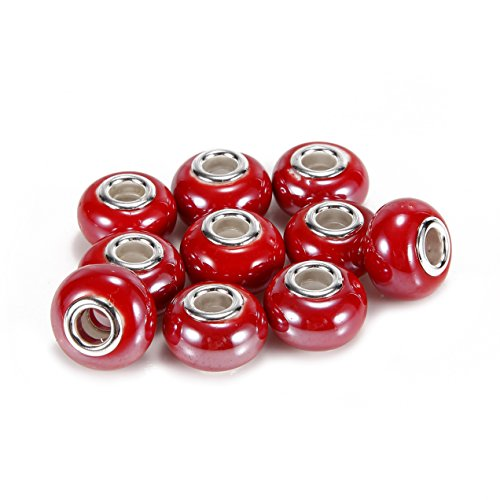 BRCbeads Top Quality 10Pcs Silver Plate Red Color Porcelain Murano Lampwork European Glass Crystal Charm Beads Spacers Fit Troll Chamilia Carlo Biagi Zable Snake Chain Charm Bracelets.