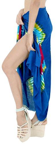 womens costume costumi da spiaggia LEELA Blu coprire pareo rayon LA bagno da bagno involucro f714 sarong If5wHg