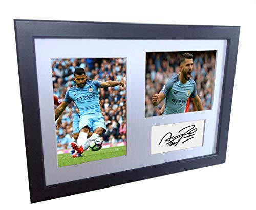 Manchester City Photo - Signed Black Soccer Sergio Aguero Manchester City Autographed Photo Photographed Picture Frame A4 12x8 Football Gift