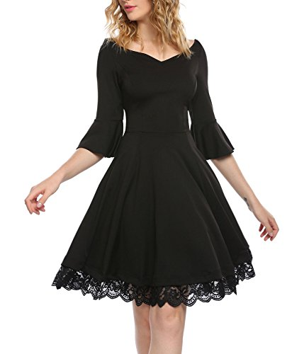 Pleats Vintage Little Black Dress - ANGVNS Women's Retro V Neck 3/4 Flare Sleeve Vintage Cocktail Swing Midi Dress (Black,Large)