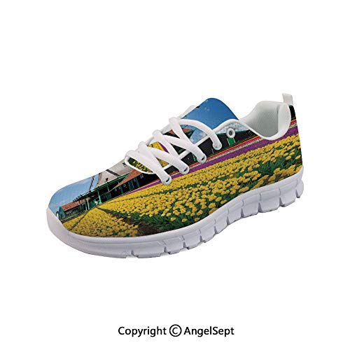 SfeatruAngel Athletic Running Shoes Dutch Landscape with Colorful European Lightweight - Dutch Planter Shoe