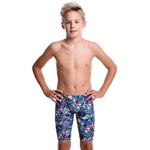 Flow Funky Swim Jammers - Jammer Swimming Shorts in Boys Size 24 to 30 with Eight Radical Swimsuit Designs to Choose from (Glow Skulls 26) (Boys Speedo Jammer)