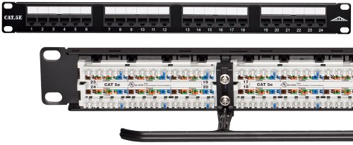 Allen Tel Products AT55B-PNL-24 24 Ports, 568A / 568B Wiring, 1 Rack Unit, 110 Termination Category 5e Patch Panel -
