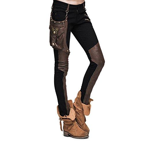 56d8c4723492 Devil Fashion Frauen Stitching Leder Hose Slim Fit Solid Farbe Leggings mit  einer Tasche