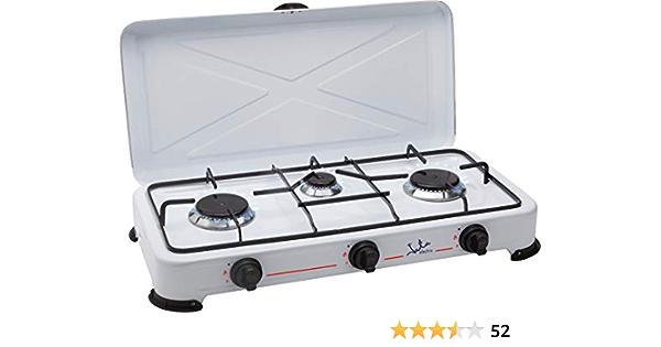 Jata CC706 Cocina de Gas para Camping con 3 Quemadores con Tapa y Parrilla Apta para Todo tTpo de Gas Licuado