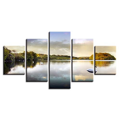 YXAZXR Canvas Hd Prints Artworks Decor 5 Pieces Lake and Water Swan Forest Scenery Wall Art Poster Pictures Modular Paintings