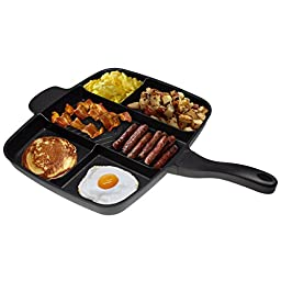 Master Pan Non-Stick Divided Grill/Fry/Oven Meal Skillet, 15'', Black