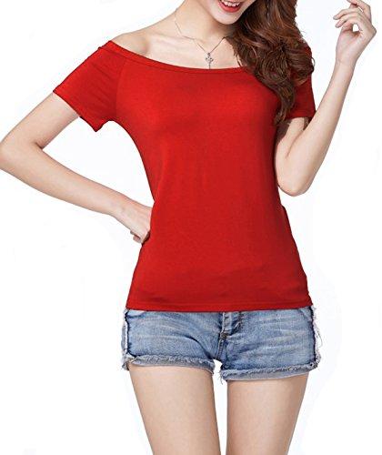 Hilinker Women's Short Sleeve Vogue Fitted Off Shoulder Modal Blouse Top T-Shirt
