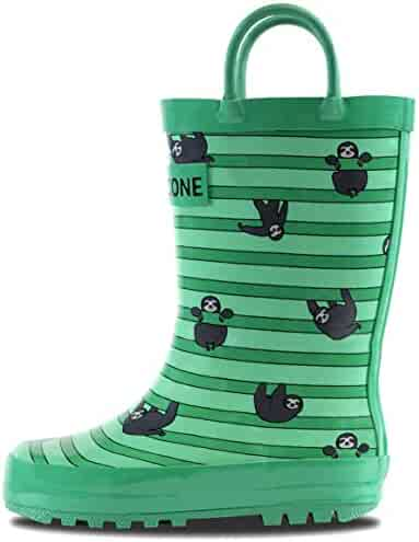 LONECONE Rain Boots Easy-On Handles in Fun Patterns Toddlers Kids, Sloths & Stripes, Toddler 9