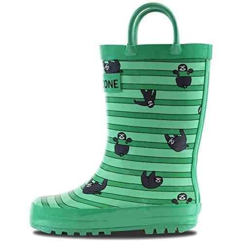 LONECONE Children's Waterproof Rubber Rain Boots in Fun Patterns Easy-On Handles Simple Kids, Sloths & Stripes, Little Kid 12