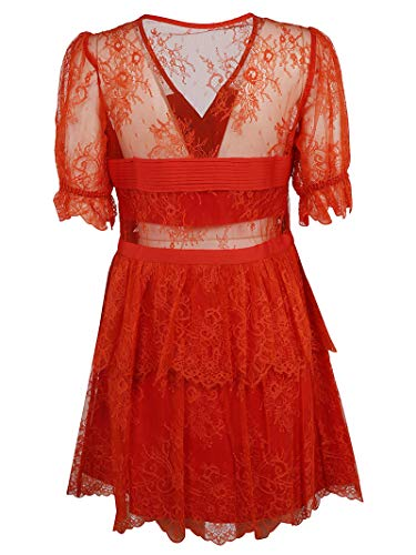 portrait Viscosa Sp21084brightred Mujer Vestido Rojo Self dqv8wx8BI