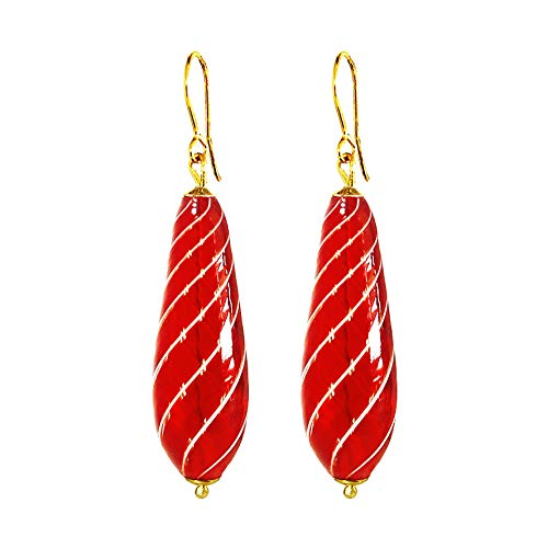 - Murano Blown Glass Earrings by I Love Murano 'Red Swirl'