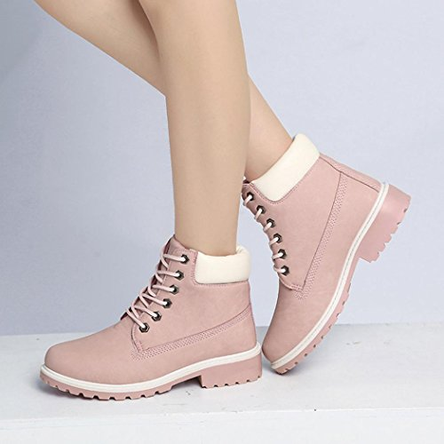 Casual Botines Mujer Shoes Rosa Manadlian Botas de Martin Botas xHnw1WU6