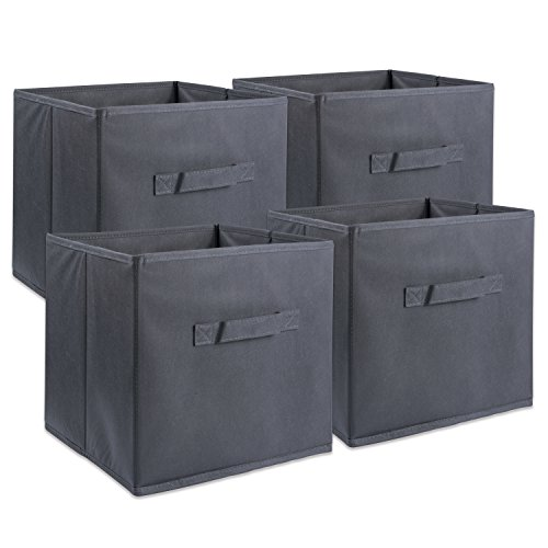 DII Foldable Fabric Storage Containers for Nurseries, Offices, Closets, Home Décor, Cube Organizers & Everyday Use, 11 x 11 x 11 Gray - Set of 4, Small (4), from DII