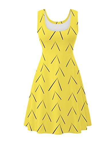 Uideazone Womens Sleeveless Dress Printed Fruit Pineapple Round Neck Sundress for Summer -