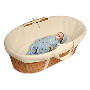 Badger Basket Wicker-Look Woven Baby Moses Basket with Bedding, Sheet, and Pad, Natural/Ecru