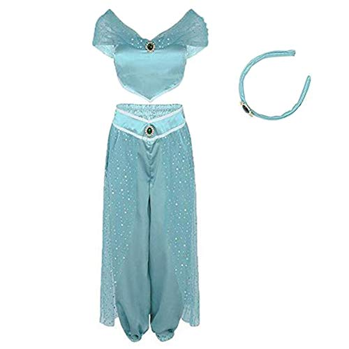 RUEWEY Womens Jasmine Princess Cosplay Belly Dance Dress Up Anime Lamp Costumes Party Adventure Outfit (2XL, Light Blue) -
