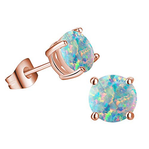 Rose Gold Plated Opal Stud Earrings for Women,Created Round Opal Birthstones Jewelry 6mm For Women Girls