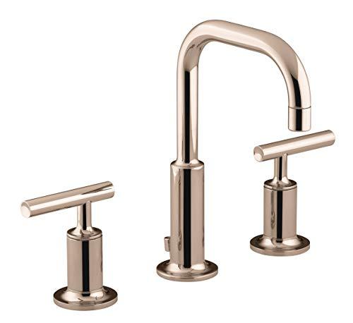 Kohler K-14406-4-RGD Purist Widespread bathroom sink faucet in Rose Gold Finish ()