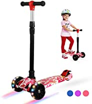 Zicosy 3 Wheel Kids Scooter,4adjustable Height Kids Scooter,Lean to Steer with Extra-Wide PU led Light Wheels,