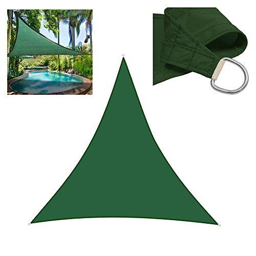Sun Shade Sails Triangle, Fellie Cover 9.8' x 9.8' x 9.8' Outdoor Garden Awning Patio Shade Sail Canopy UV Block Green (Backyard Shade)
