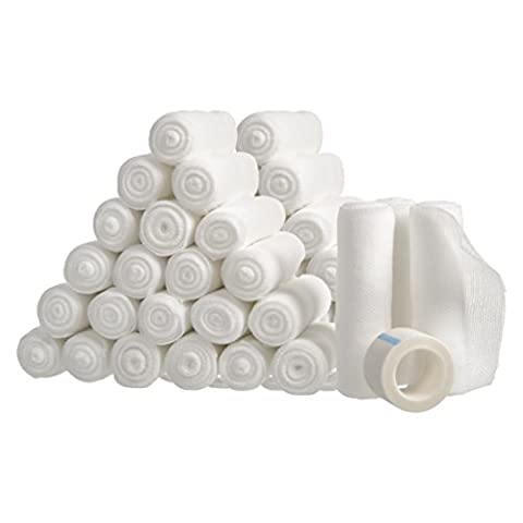 "48 Gauze Bandage Rolls with Medical Tape, Rolled Gauze Stretch Bandage, 4"" x 4 Yards Stretched, FDA Approved, Medical Grade Sterile First Aid Wound Care, Dressing, Cotton Ply by California - First Aid Dressing Medicine"