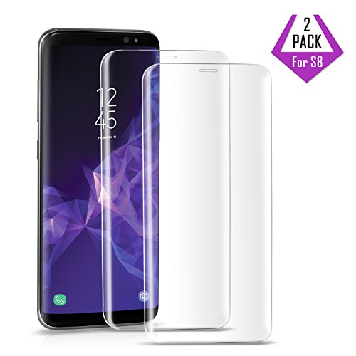 2 Pack Galaxy S8 Screen Protectors, Wonderpro [9H Hardness][Anti-Scratch] [3D Curved] [High Definition] 9 Hardness Tempered Glass Screen Protector for Samsung Galaxy S8, 5,8in