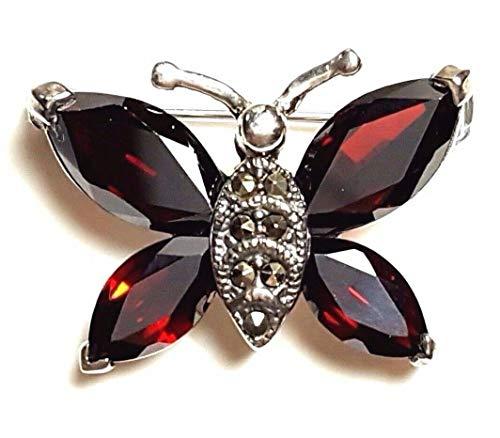 Garnet Butterfly PIN Brooch Marcasite .925 Sterling Silver ВК-18