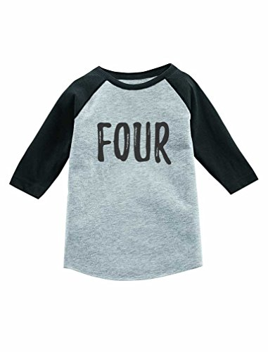 Tstars 4th Birthday Gift for 4 Year Old Child 3/4 Sleeve Baseball Jersey Toddler Shirt 3T Dark Gray (Birthday Sleeve 3/4)
