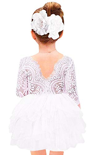 2Bunnies Girl Beaded Peony Lace Back A-Line Tiered Tutu Tulle Flower Girl Dress (White 3/4 Sleeve Short, -