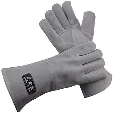 ペア溶接保護手袋の手は、溶接機グレーの難燃性をカバー